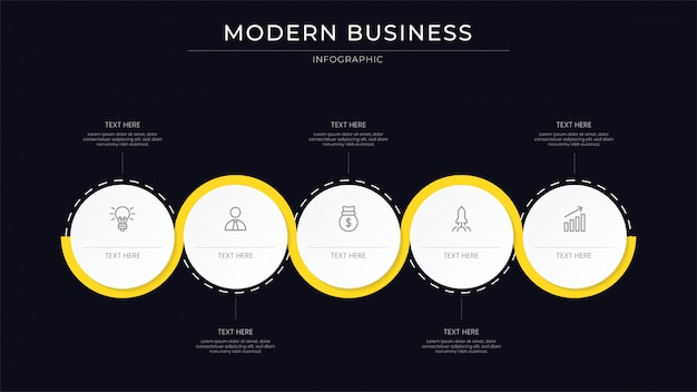 Clean business infographic process with line yellow color