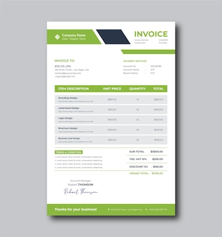Шаблон счета-фактуры для чистого бизнеса