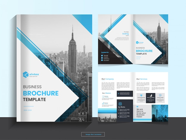 Clean corporate bi fold business brochure design template in a4 format.