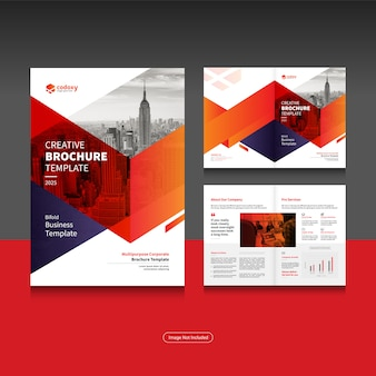 Clean corporate bi fold business brochure design template in a4 format.