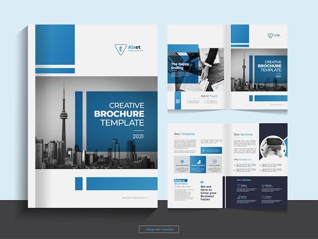 Чистый корпоративный шаблон оформления бизнес-брошюры в два сложения