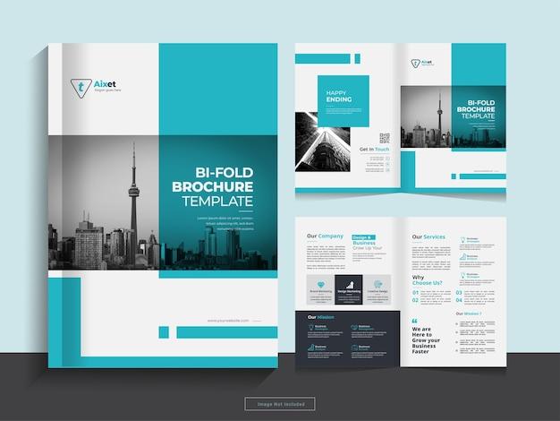 Clean corporate bi fold business brochure design template