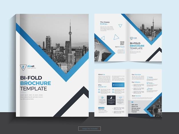 깨끗 한 기업 이중 접기 비즈니스 브로셔 디자인 서식 파일