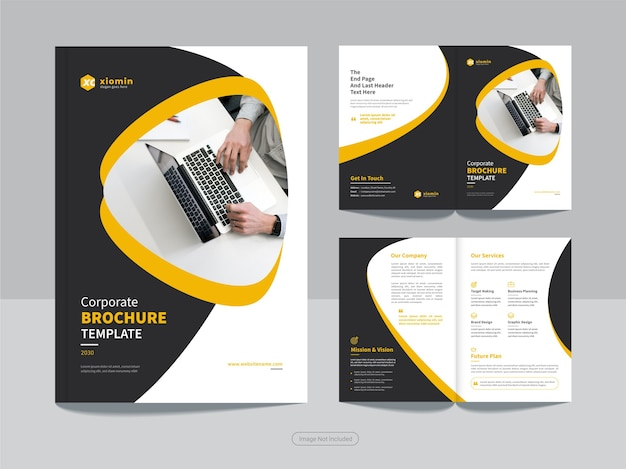 Clean corporate bi fold business brochure design template