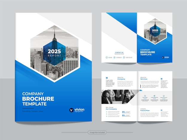 Clean corporate bifold business brochure design template with blue gradient color