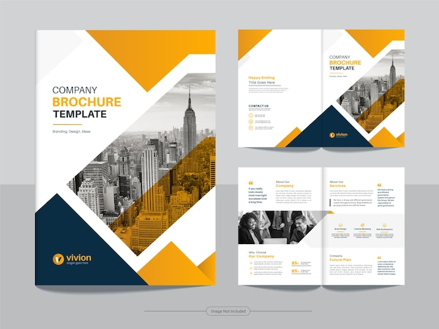 Clean corporate bifold business brochure design template with yellow gradient color