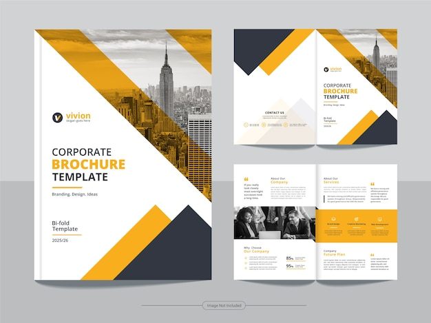 Clean corporate bifold business brochure design template
