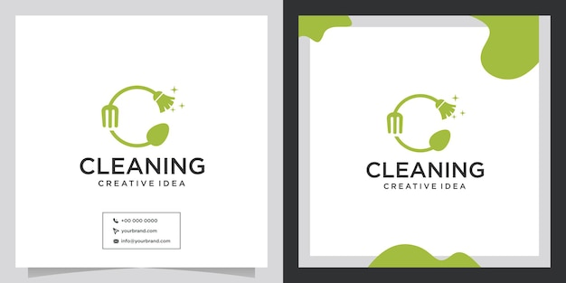 Clean and cutlery concept logo design