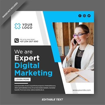 Clean digital marketing banner social media post
