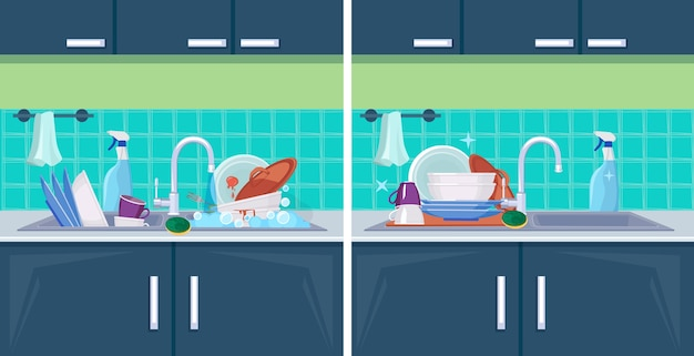 Clean and dirty dish. sink with kitchenware items for washing cleaning cartoon background. illustration wash and clean, unwashed kitchenware