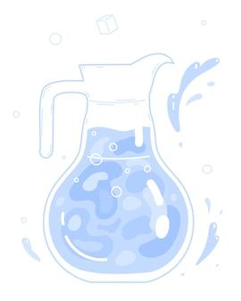 ガラスの水差しのきれいな飲料水。ベクトルイラスト。