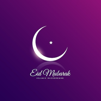 Clean eid mubarak design with crescent moon and star