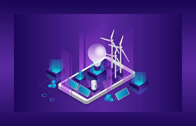 代替の再生可能エネルギー源である太陽と風からのクリーンな電気エネルギーの概念。スマートフォンの画面にある大きな電球、ソーラーパネル、風車タービン、その他の光源。