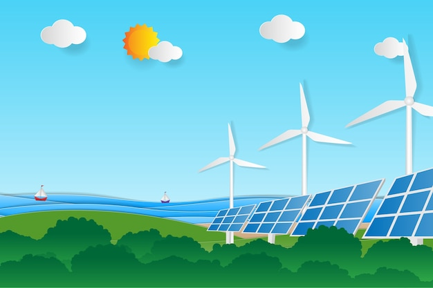 Clean electric energy from renewable sources sun and wind.