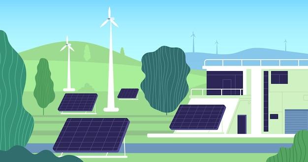 クリーンな電気エネルギー。タービン、再生可能な資源の構築。現代の電気、太陽電池風力発電所。パワーハウスのイラスト。再生可能エネルギー、エコ風車、持続可能なタービンの建物