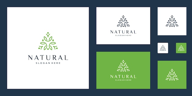 Clean and elegant abstract flowers inspiring beauty, yoga and spa design logos.