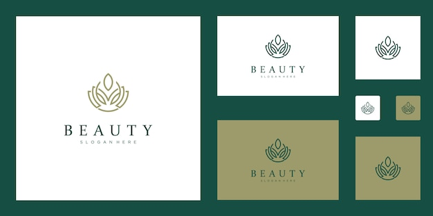 Clean and elegant abstract flowers inspiring beauty, yoga and spa logos.