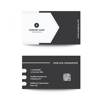 Clean elegant black and white business card