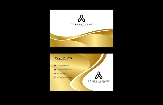 Чистая элегантная современная визитка золотая волнистая