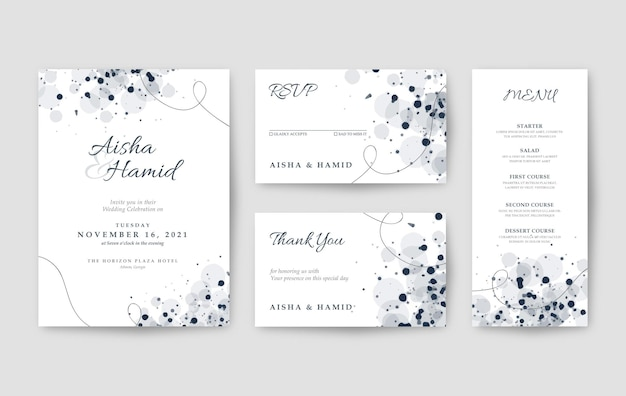 Clean and elegant white wedding invitation template
