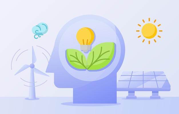 Концепция осведомленности о чистой энергии, лист лампочки на головном ветру, солнечная энергия, солнечная панель
