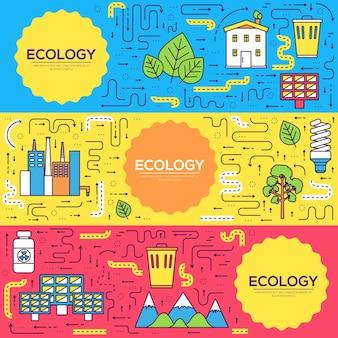 クリーンエネルギーカードの細い線セット。 flyear、本の表紙、バナーの天然資源テンプレート。