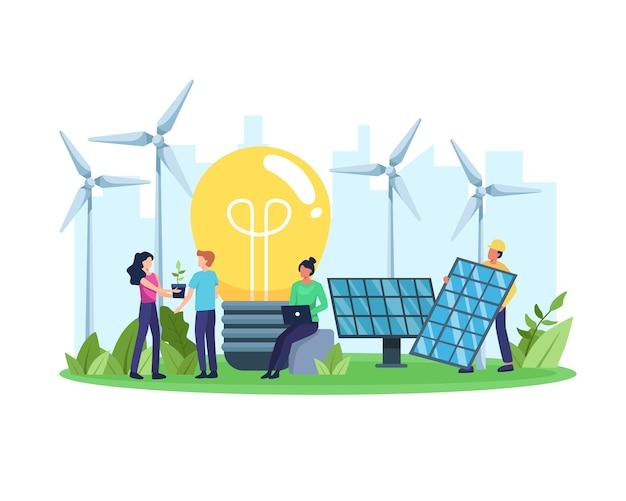 クリーンエネルギーの概念。より良い未来のための再生可能エネルギー。環境にやさしいエネルギー、ソーラーパネル、風力タービンを持っている人。フラットスタイルで