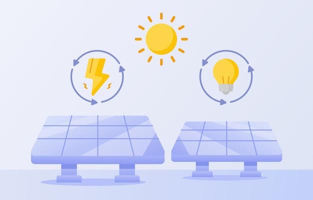 Концепция чистой энергии солнечные батареи молнии лампа солнце