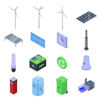 Clean energy icons set