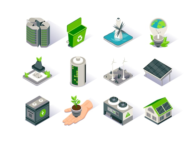Clean energy isometric icon set.