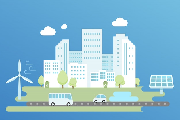 Clean energy in modern city illustration, flat design.
