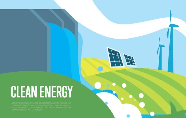 クリーンエネルギー。太陽、水、風力