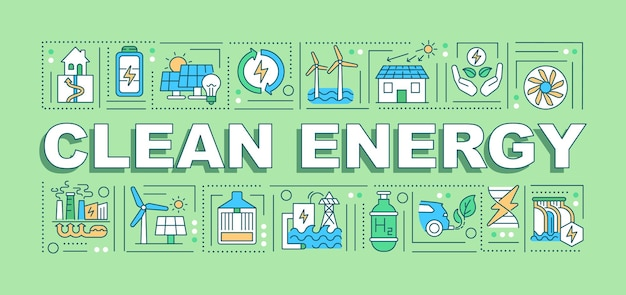 Clean energy word concepts banner. reducing harmful emissions. climate change.
