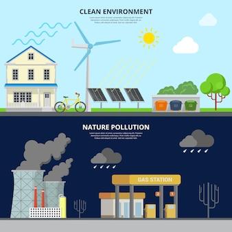 クリーンな環境と自然汚染フラットスタイルのウェブサイトのヒーロー画像イラスト