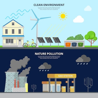 Clean environment and nature pollution flat style web site hero image  illustration