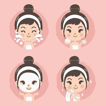 깨끗한 얼굴과 마스크 거품 치료 귀여운 소녀.