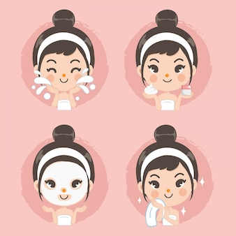 Clean face and mask foam treatment cute girl.