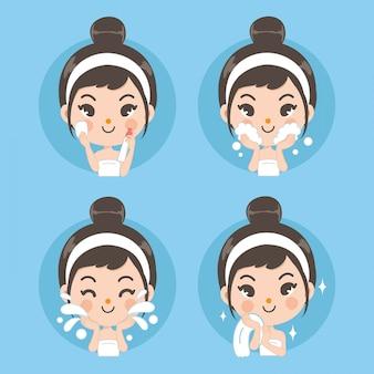 깨끗한 얼굴과 귀여운 소녀로 치료하십시오.