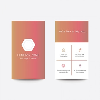Clean flat design app style multi color gradient business visiting card