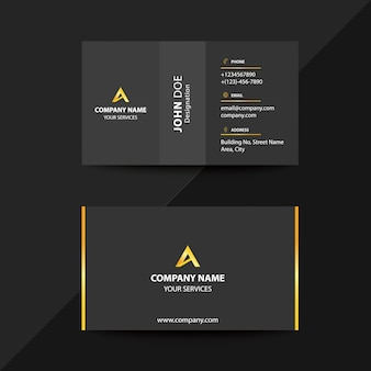 Clean flat design black and gold premium corporate business visiting card