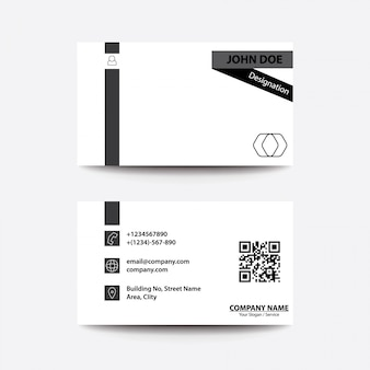 Clean flat design black and white style business visiting card