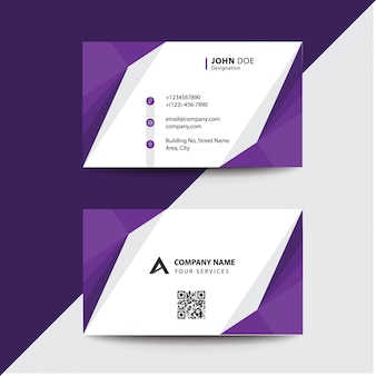 Clean flat design purple fold style corporate business visiting card