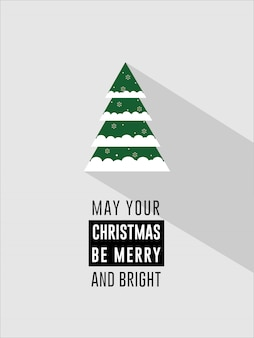Clean flat green christmas tree christmas and holiday wishes invitation card flyers