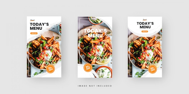 Clean food menu social media stories template collection