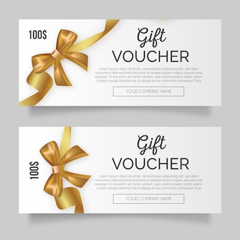Clean gift voucher with golden ribbon