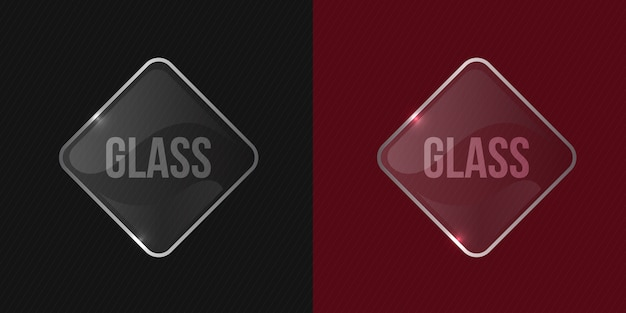 Clean and glossy transparent vector glass square shiny frame mockup