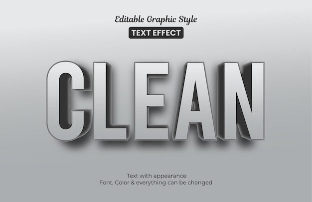 깨끗한 회색 3d 효과. 편집 가능한 그래픽 스타일 텍스트 효과