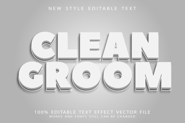 Clean groom editable text effect emboss modern style