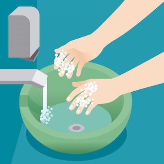 水と石鹸の泡で手をきれいにする