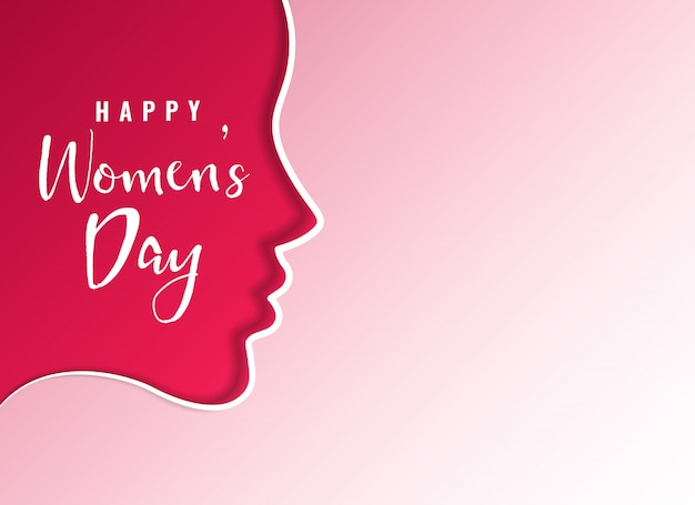 Clean happy women's day card design with female face